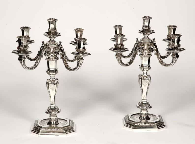 FOUQUET LAPAR - Pair of candlesticks in sterling silver 19th Regency