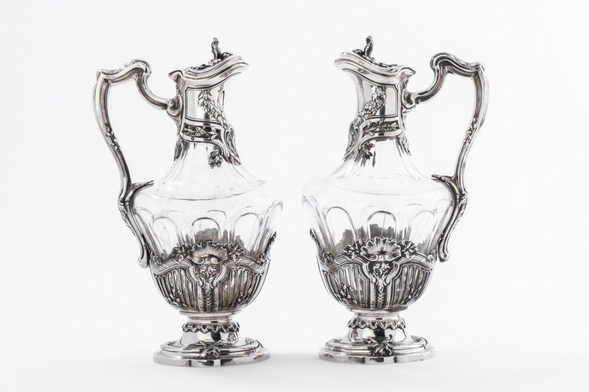 Silversmith DEBAIN  - Pair of crystal ewer and solid silver late 19th