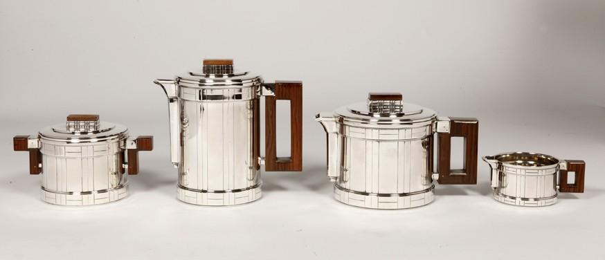 Silversmith ROUSSEL - Coffee tea set 4 pieces, Art deco,
