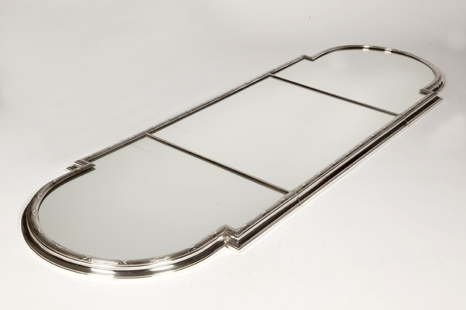 SILVERSMITH CHRISTOFLE, TABLE TOP IN SILVER BRONZE, 3 PARTS, LATE XIXth