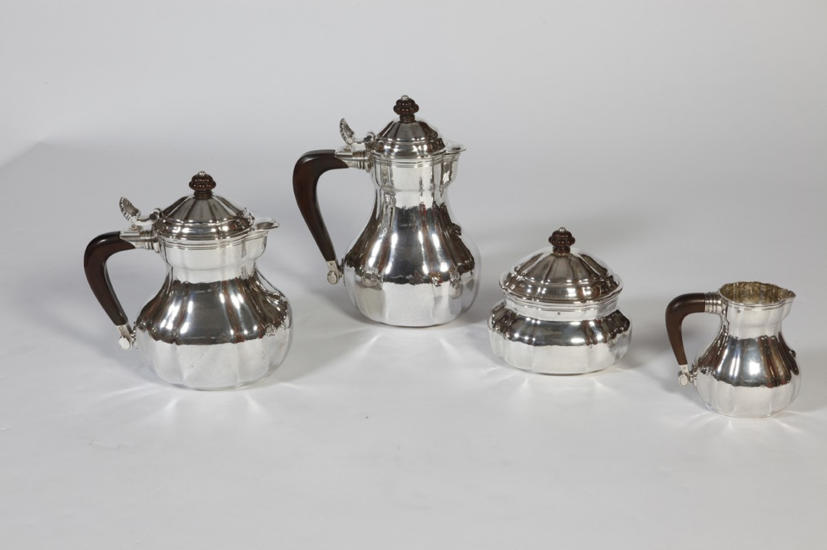 Silversmith Georges Lecomte - Tea-Coffee set in silver Art déco vers1925