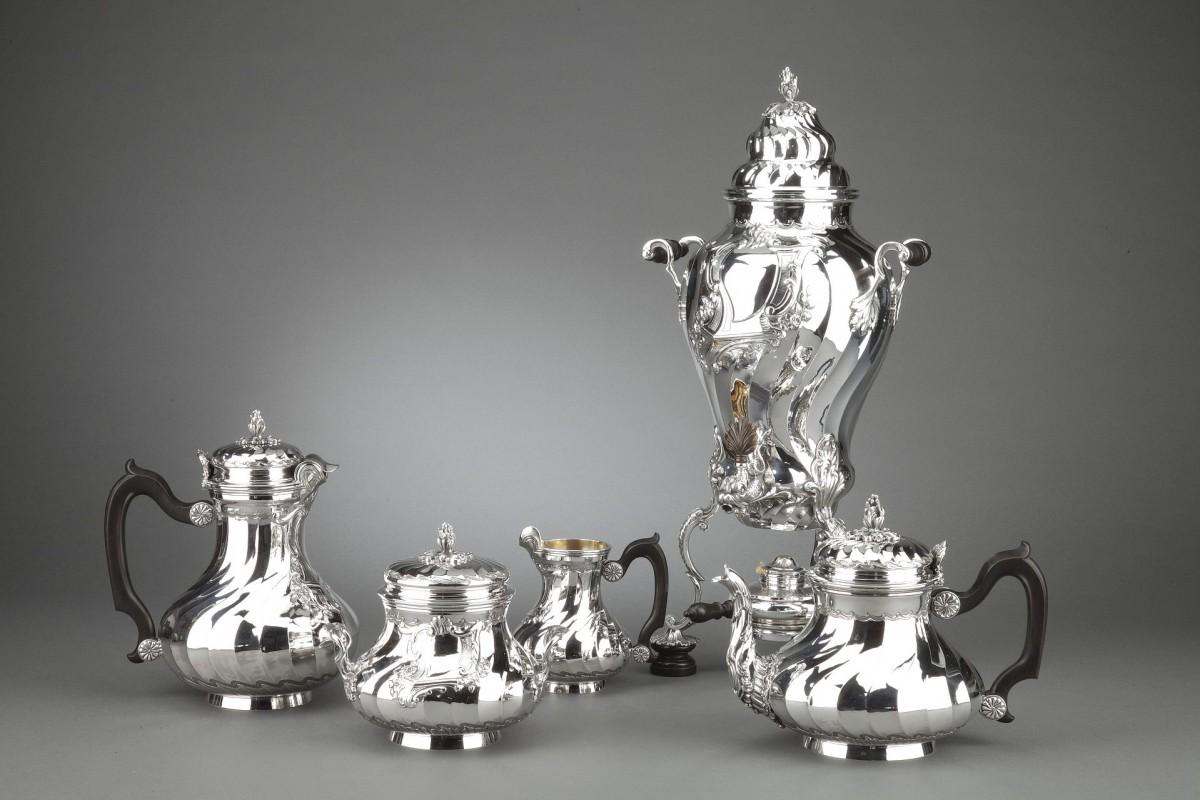 Goldsmith BOIN TABURET - Tea / Coffee service 4 pieces in solid silver plus Samovar in silver...