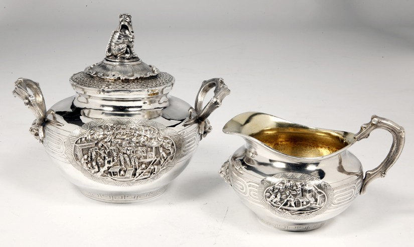 Orfèvre Duponchel - Silver milk jug and sugar pot and cover - XIXth