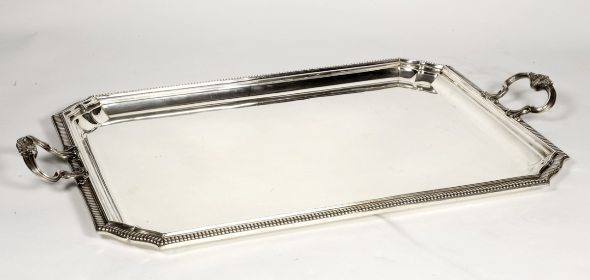 Goldsmith Falkenberg - Rectangular tray in solid silver - early 20th century