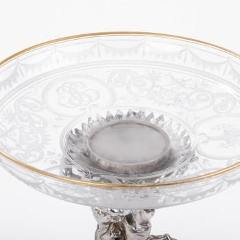 CARDEILHAC - Centerpiece in sterling silver crystal cut engraved XIXe