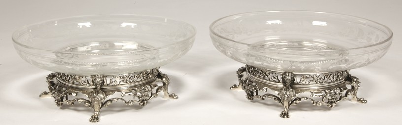 Orfèvre CARDEILHAC - Pair of silver crystal cups  XIX th