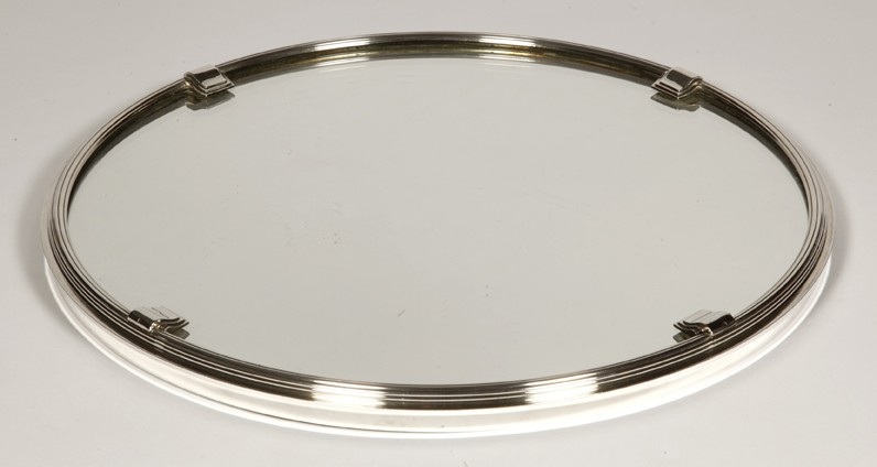 Goldsmith CARDEILHAC - Round solid silver tray with mirror base ART DECO