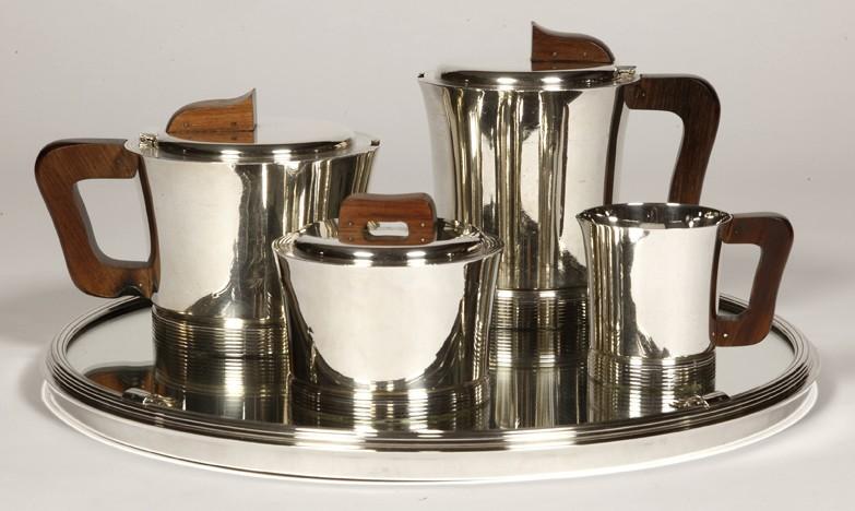 Orfèvre JEAN E. PUIFORCAT - Service thé café en argent massif ART DECO