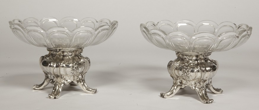 Goldsmith GUSTAVE ODIOT - Pair of cups in sterling silver and crystal BACCARAT