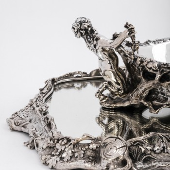 """Centerpiece in silvered bronze said """"The Forest"""" by C. CHRISTOFLE XIXth"""