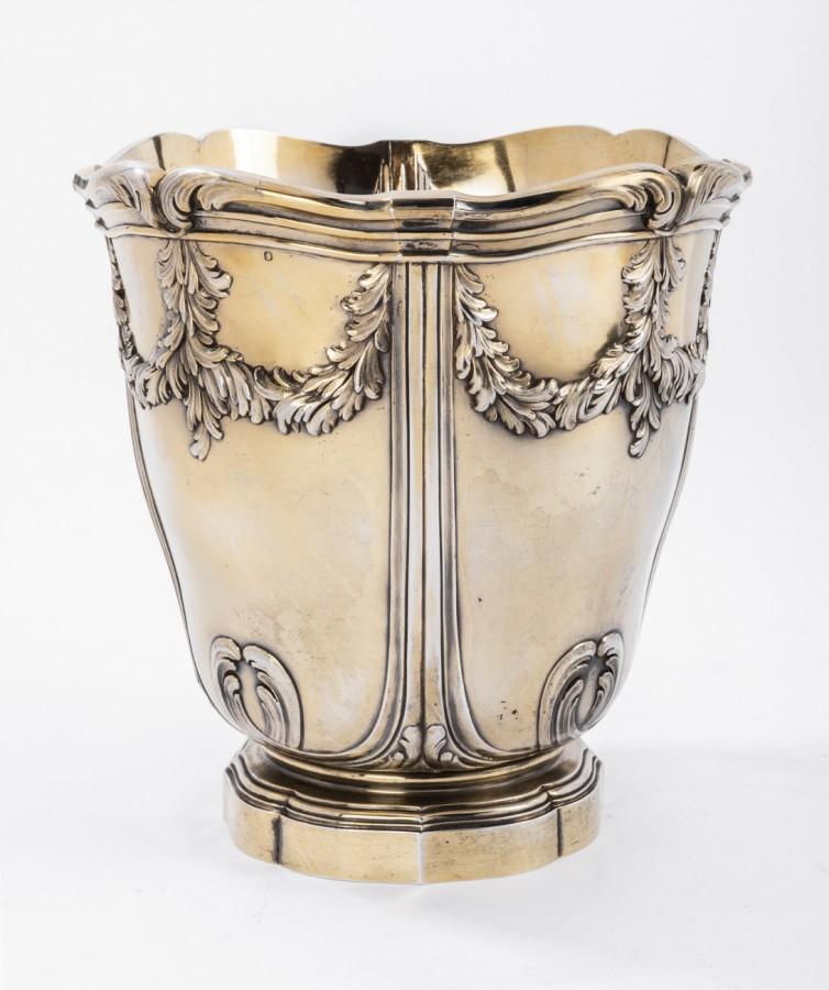 Silversmith Risler & Carre - Cooler in solid silver vermeillé XIXth