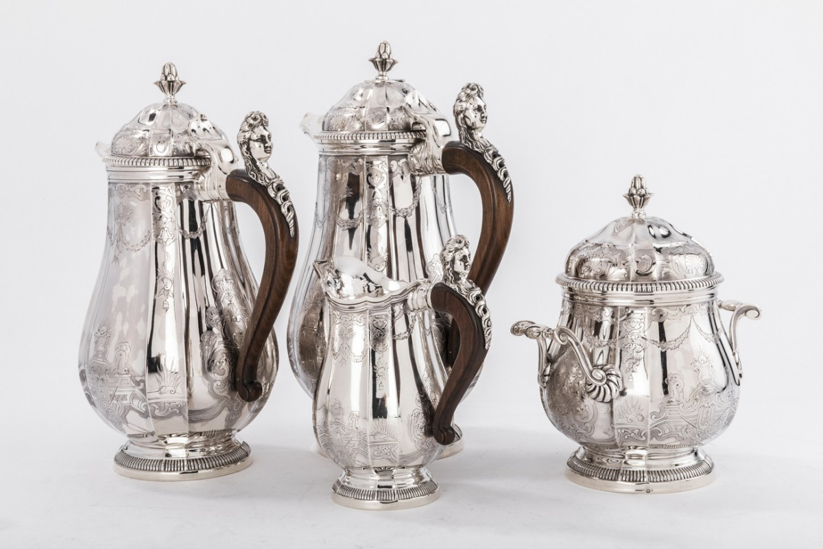 Goldsmith PAUL CANAUX - Coffee / chocolate service 4 pieces in solid silver