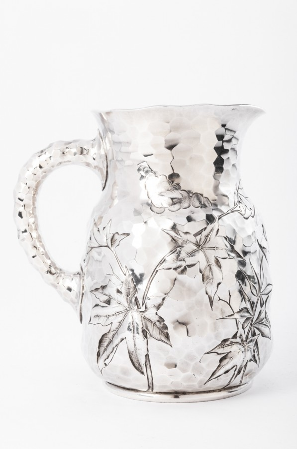 Goldsmith J.E. CALDWELL - Hammered solid silver pitcher 20th century