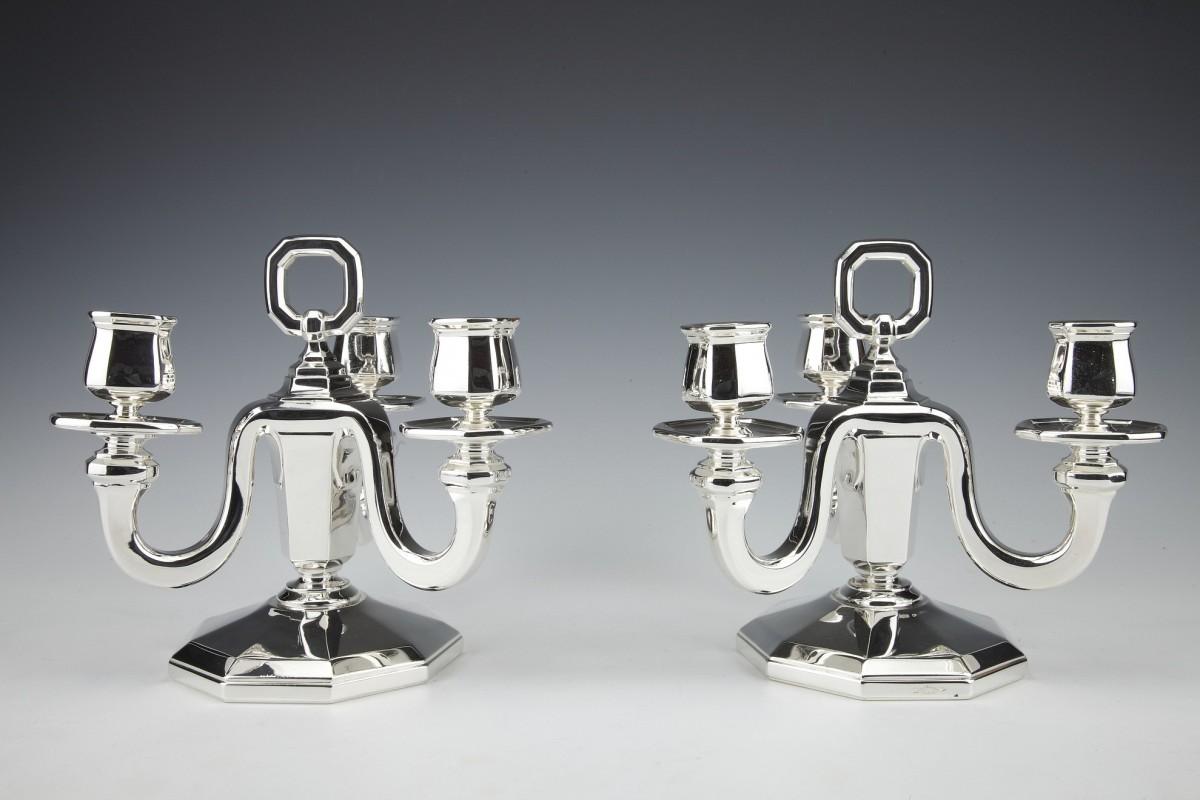 Goldsmith GUSTAVE KELLER -Pair of sterling silver candelabra ART DECO  1930