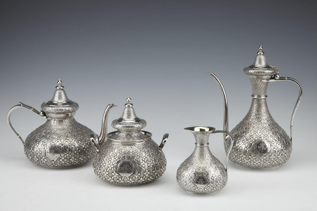 GLANANT  / DUPONCHEL - 4-piece tea and coffee service in solid silver XIXè