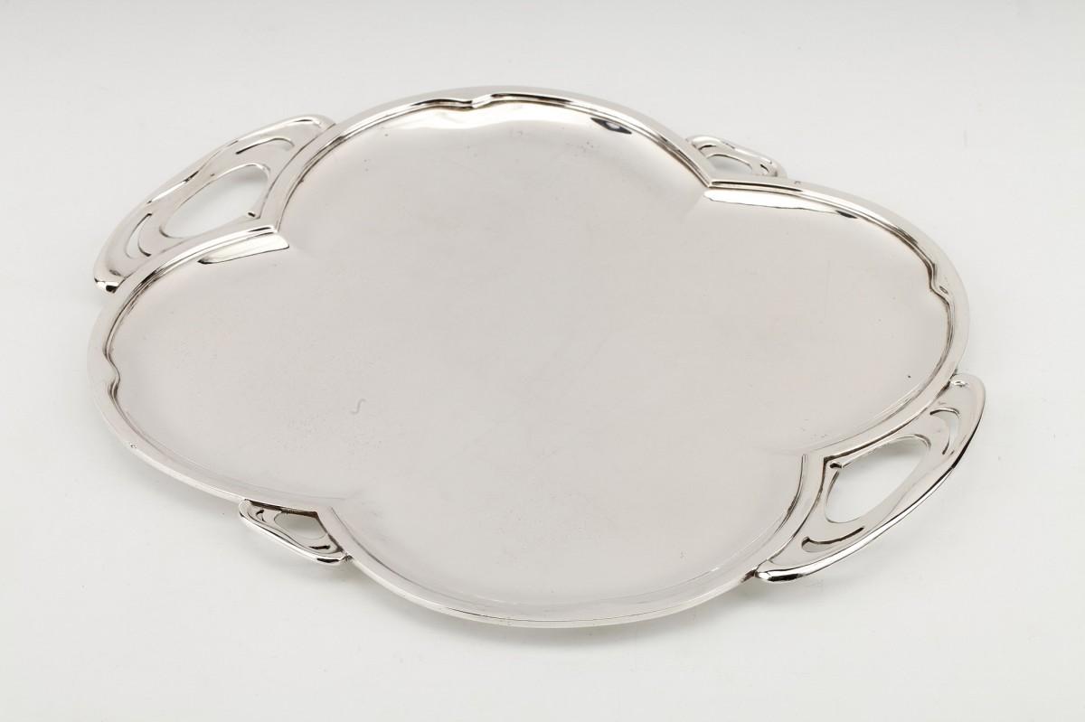 Goldsmith DEBAIN - Solid silver serving tray ART NEW period