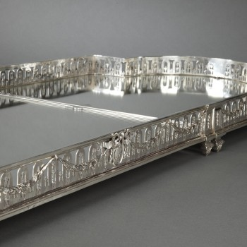 Goldsmith QUEILLE - Surtout of table and its planter in solid silver XIXth
