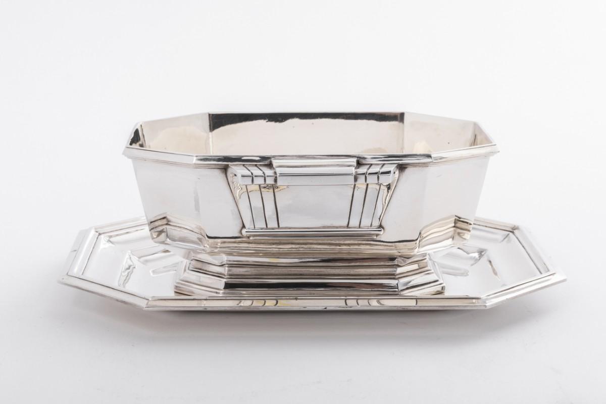Lapparra silversmith Sauceboat silver Art deco period circa 1930