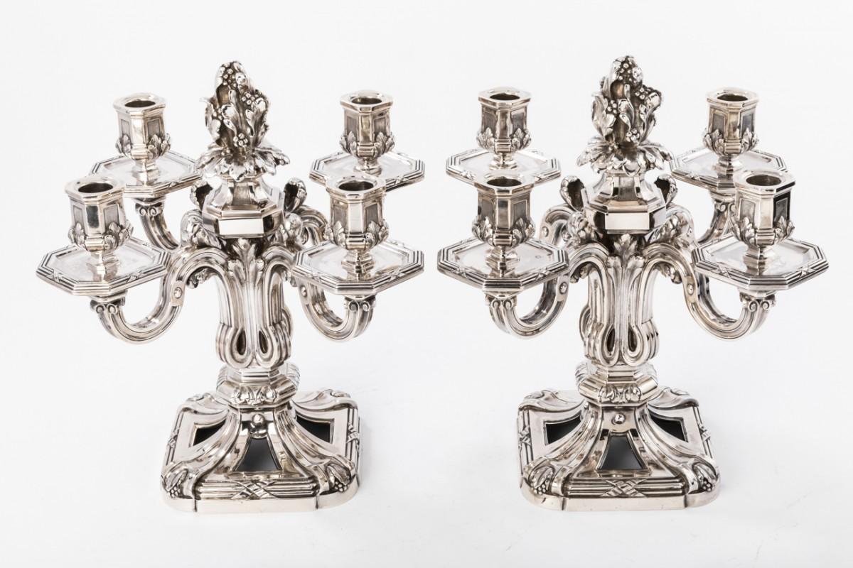 ED. TETARD - Pair of candelabras bottom solid silver vintage ART DECO,
