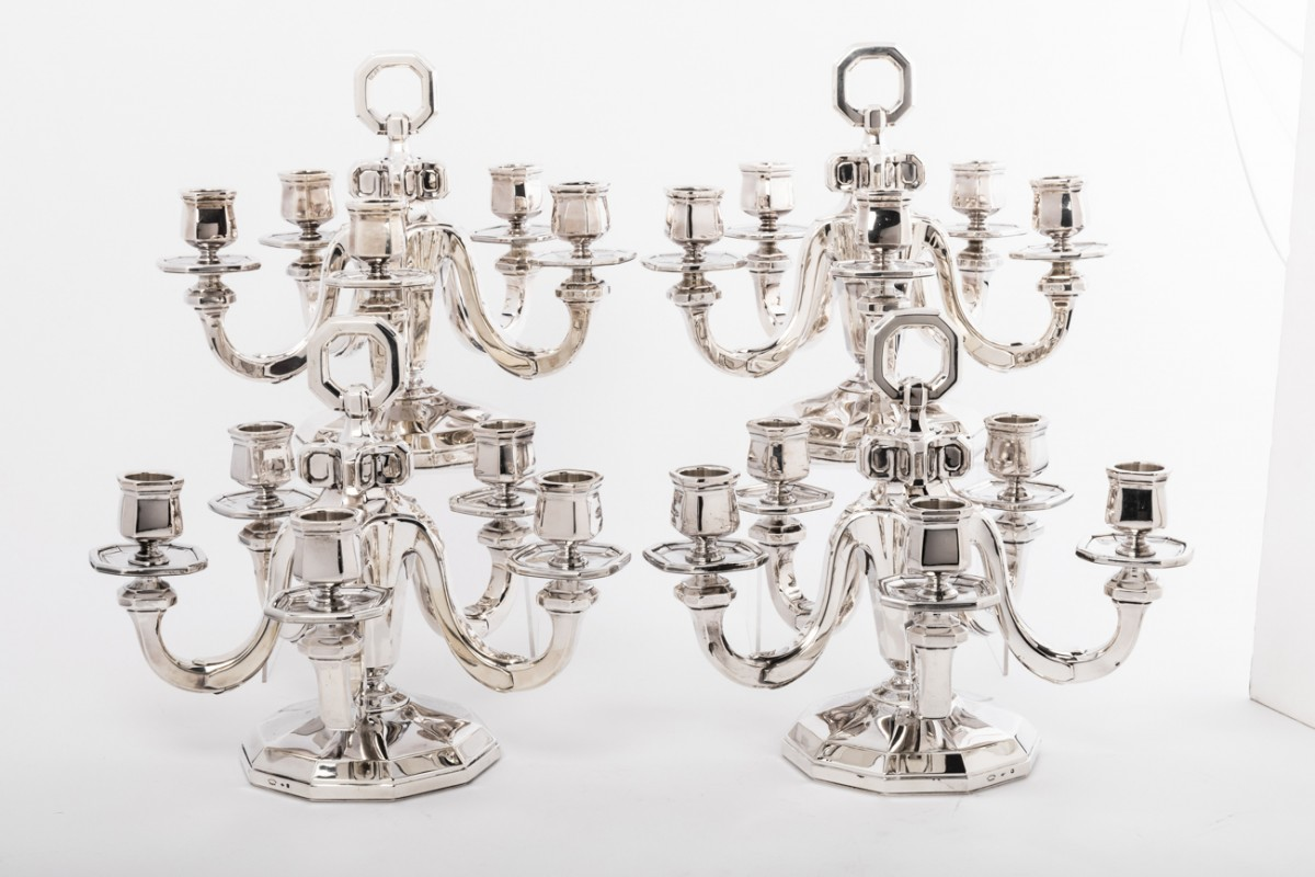 Suite of four silver candelabra by Gustave KELLER Art déco period