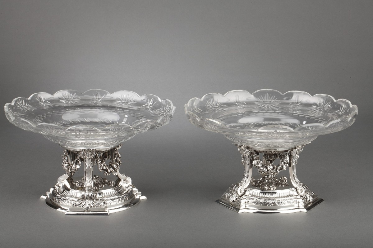Goldsmith BOIN TABURET - Pair of cups in solid silver  XIXè