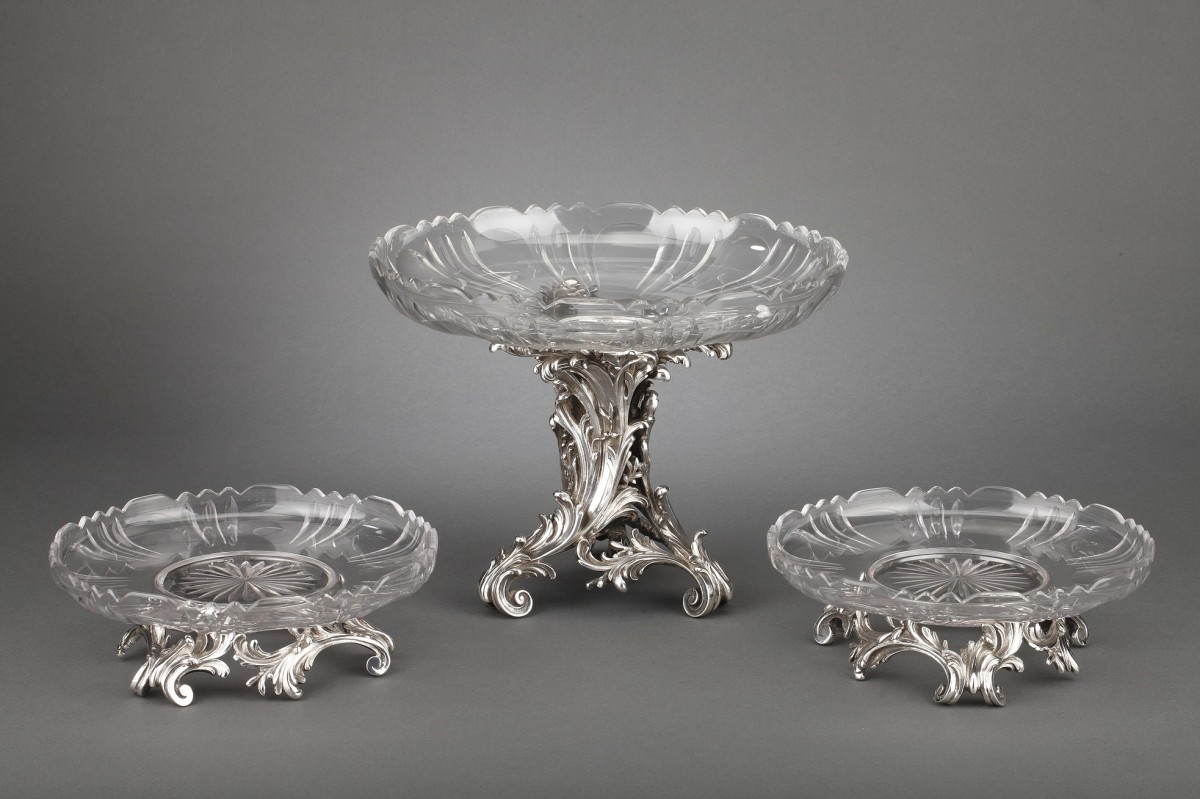 Orfèvre Cardeilhac - Table set formed by three cups in solid silver and cut crystal