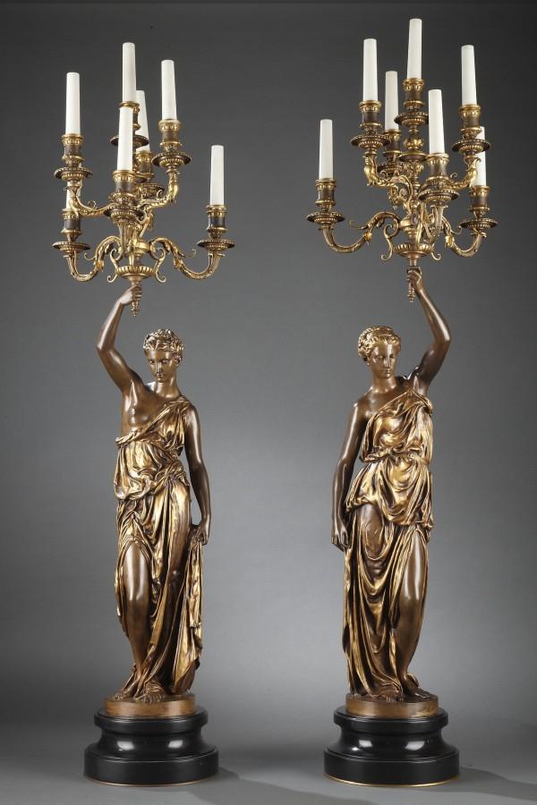 Barbedienne - Paire de Torchères en bronze par DUBOIS & FALGUIERE