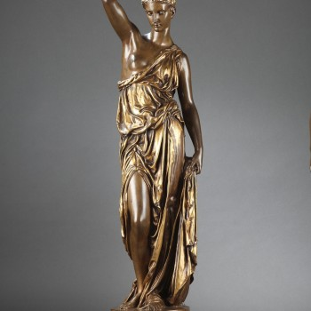 Barbedienne - Pair of 19th century bronze Torchieres by DUBOIS & FALGUIERE